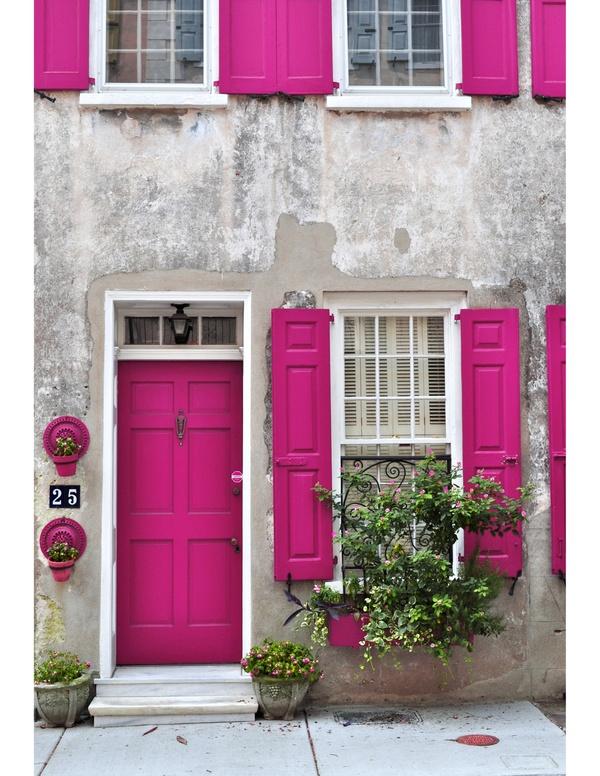 pink door and shutters