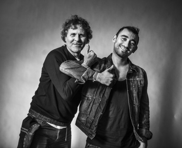 Diesel founder Renzo Rosso, left, gives a thumbs-up alongside the brand's newly appointed artistic director, Nicola Formichetti. (Diesel)
